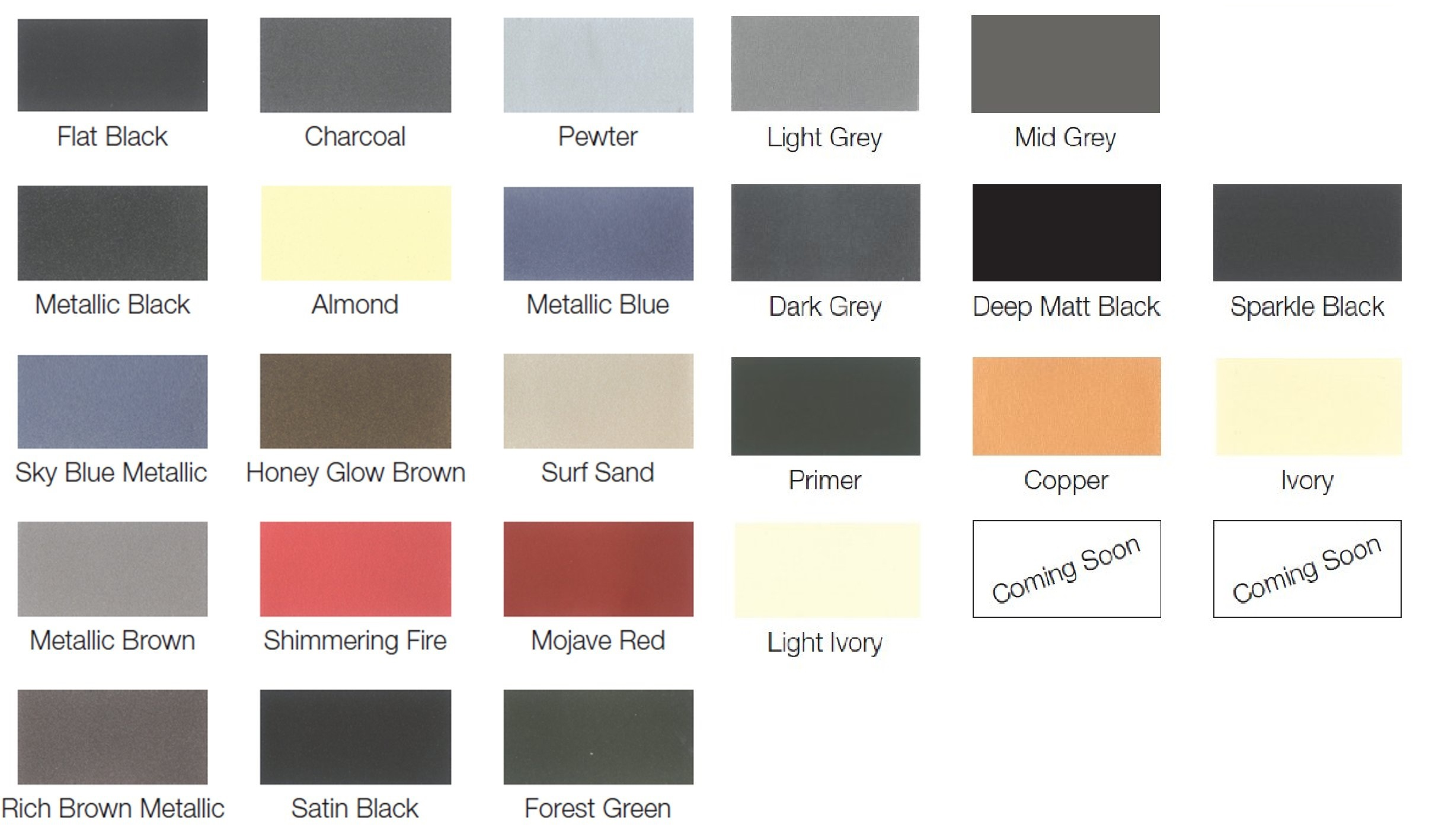 Thermacure Stove Paint Colour Chart