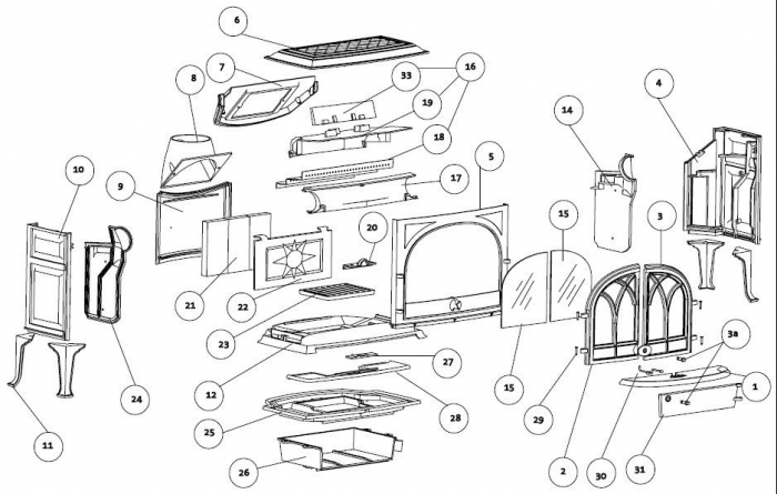 Exploded Diagram For Jotul F 400 Double Door Stove