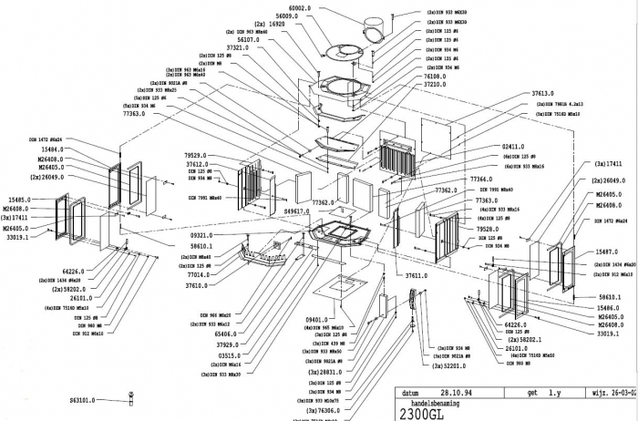 Exploded Spare Parts Diagram for the Dovre 2300 woodburning stove - Exploded Diagram For Dovre 2300 Woodburning Stove